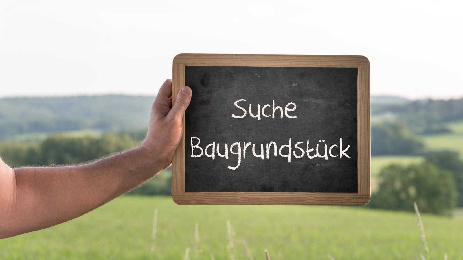 """Schild mit der Aufschrift """"Suche Baugrundstück"""" wird vor dem Hintergrund einer Landschaft ins Bild gehalten"""