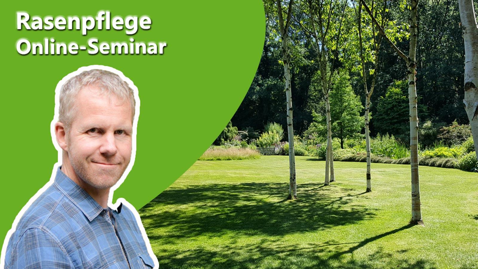Philippe Dahlmann auf Bild mit einer Rasenfläche zur Ankündigung des Online-Seminars Rasenpflege.